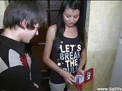 Pretty teen gal stands doggy fashion offering this handsome guy to fuck her cunt hard from the behind.