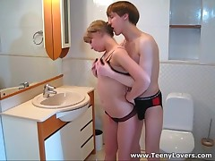 This teeny is one sexy little thing and her cum-hole is in any case wet and ready to take a firm bushy wang unfathomable inside. Her apartment is a crowded place tonight and this babe pulls this sexy guy away from the guests to get down and impure right in a tiny bath. Fucking on a sink and even on a toilet pan makes her cum so hard that her moans of pleasure are heard all over the place. What a loud slut!