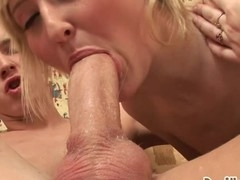 Blond slut sucks rod, gets her vagina railed and creampied!