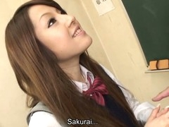 Hawt brunette prickle student Ria Sakurai gets exposed for school principal after the classes and gets her slit stimulated by vibrator in advance of that babe gives head to him and other professors on her knees and getting banged hardcore in group sex session on the desk