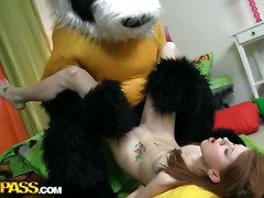 A cute teenage cutie masturbating - that's smth that can make anyone rock-hard! The nude horny hottie drilled her oozing cunt with a massive marital-device, then fell asleep. What happened later could have been her dream, 'cuz it's too weird. Her beloved toy, a huge panda bear, came breathing and plunged into fun fucking with the oversexed chick. This Chab made the amused cutie engulf his large black dong, then hammered the sexy legal age teenager's creamy twat. Wow, sex with large toys has not at any time looked so damn hot!...
