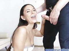 Jackie is an aggressive hard body honey that likes to engulf ramrod and pay off cum. That Babe wastes no time, and gets on her knees and starts engulfing. Thomas copulates her taut little snatch hard from behind as that babe entreats for it harder, whilst