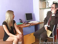 Blond chick came to the professor's office and in a during the time that his obese lawcourt was sliding betwixt her soft vagina lips.