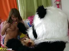 Twister is such a sexy game! Especially if u play with a breasty teenage in sexy underware. It's impossible not to get hard, even a cute panda bear got a boner. However, the nasty legal age teenager loved that. I guess that babe's been dreaming of having sex with large toys for ages, 'cause this babe willingly sucked the panda off and let him drill her oozing muff in any position possible. Wow, this steamy teenporn movie is definitely one of the coolest and funniest sex toy porn movies ever! Really, have u ever seen a panda bear do that?