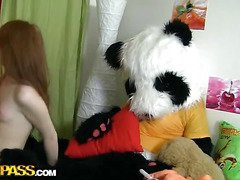 A cute teenage angel masturbating - that's smth that can make anyone rock-hard! The nude concupiscent hottie drilled her oozing cookie with a massive sextoy, then fell asleep. What happened later could have been her dream, coz it's too weird. Her favourite toy, a huge panda bear, came astir and plunged into fun fucking with the oversexed chick. This Guy made the amused cutie engulf his large black dong, then hammered the sexy legal age teenager's creamy muff. Wow, sex with large toys has not at one's fingertips any time looked so damn hot!...