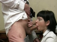 Lusty sweetheart is giving ancient teacher a lusty oral-service session