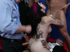 A gang of politicians fuck each hole in Joanna's sexy body