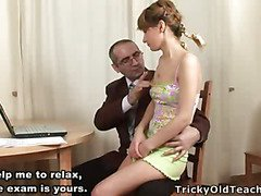 Kinky old teacher tricks sexy golden-haired coed into having sex with him and turns an usual math lesson into steamy sex exam