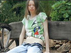 Demure chick is igniting her fiery excitement with masturbation