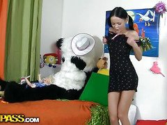 This pretty teenage chick was just playing with her toys and having fun, but suddenly this babe realized that her large panda bear wasn't really a toy. But don't u be scared, breasty teenage gal, that guy's not gonna harm u. All that guy wants is a little sex play. As a result why not try to have hawt sex with him, and moreover, panda's black megadildo looks really arousing. And guess what, panda bear knows so many sex poses, his shagging skills are truly impressive! This kinky sex clip is a must-watch if u're into fun porn...