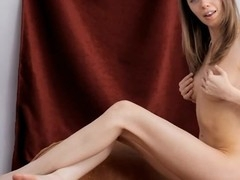 Rubbing her pinkish twat gives beauty sweet ecstasy
