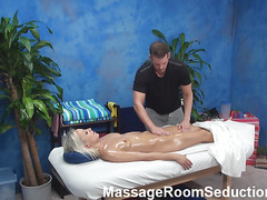 The golden-haired hottie felt strong temptation to have sex with masseur in the pont of time when this chab entered the massage room. Dude wasn't against of screwing her nicely. Watch blondie giving a head in advance of wild sex.