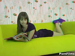 When a dude came to visit his beautiful girlfriend, this babe was reading a magazine but that guy managed to persuade her they could do smth else. Luckily for him, that babe surrendered to his strong hands and soft lips and, in her turn, took his shlong unfathomable into her mouth and into her sweet cum-hole as well.