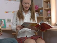 Charming lay chick in sexy college uniform starts playing with the sex toy toy. To the pont of time when dude comes to her place that babe is ready for fuck.