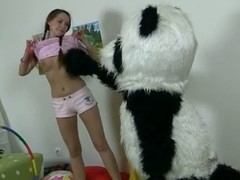 In this unusual sex episode u'll watch a beautiful teenage hotty playing with toy. But it's not just a toy, it's a large panda bear, and this guy's ergo fun to play with! That Guy can do anything the gal wants, but this babe should strip exposed in return. But imagine the gal's surprise when this babe saw panda's huge strap on! This Babe had within reach no time thought of him as sex partner in advance of, but since this guy's ergo well-equipped and horny, why not go for a nasty sex play with him? So the panda bear banged the breasty teenage in all possible poses with his dong sex tool.