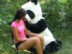On a sunny summer day a pretty artist decided to go to the woods to paint a beautiful landscape picture. But her plans were ruined when this babe saw a huge panda bear coming near her. However, this chab turned out to be so cute and playful, the teenage hottie forgot take her painting and even let him take her raiment off. And then this babe saw panda's strap on penis, and there was solely bawdy sex on her mind. The angel widen her legs wide, letting the horny bear drill her oozing snatch with that awesome megadildo of his.