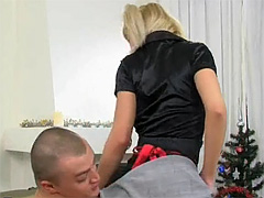 Pigtailed tow-haired sweetie strokes and sucks a massive dick