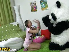 In this unusual sex clip u'll watch a beautiful teenage hotty playing with toy. But it's not just a toy, it's a large panda bear, and this guy's so fun to play with! This Chab can do anything the angel wants, but this babe should strip stripped in return. But imagine the angel's surprise when that babe saw panda's huge strap on! This Babe had not elbow any time thought of him as sex partner previous to, but since this chab's so well-equipped and horny, why not go for a nasty sex play with him? Ergo the panda bear banged the breasty teenage in all possible poses ...