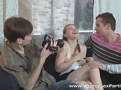 Those two horny college guys have a ideal plan to tempt a cute stupid teeny they met the other day. They tell her they want to do a softcore erotic photo session for their modeling intermediation internship, then one thing leads to some other and this babe ends up getting DPed on camera. A great threesome fuck like that might not make her a model, but it definitely made her pleased.