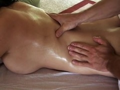 Giving playgirl lusty rub down makes stud's penis hard like other place