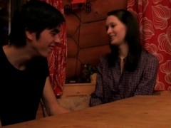 Brunette Hair disrobes and enjoys sex on a wooden table